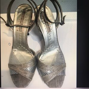 Stella McCartney linen and pvc heels shoes, sz 38